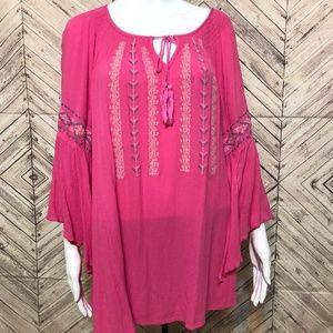 Indigo 1X Pink tribal peasant tunic split sleeve